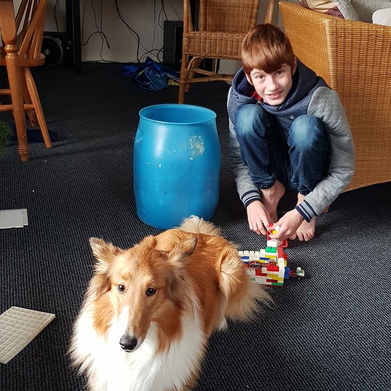 Gezinshuid kind en hond